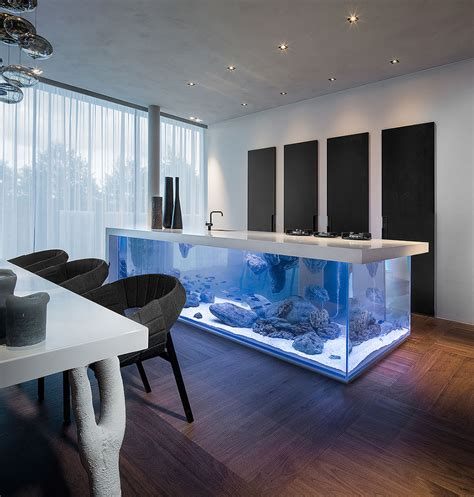kitchen design aquarium this kitchen island is also a giant aquarium bored panda
