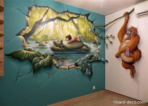 fresque murale chambre enfant fresque murale graffiti sur le livre de la jungle
