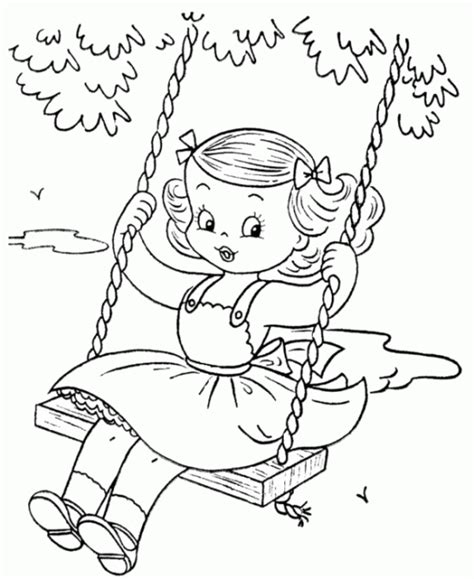 swing color girl played swing coloring pages little coloring pinterest