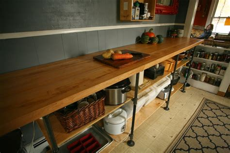 whittled diy black pipe kitchen counter