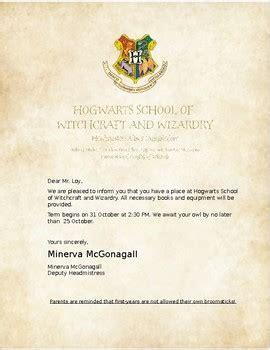 editable hogwarts acceptance letter kandi loykay tpt