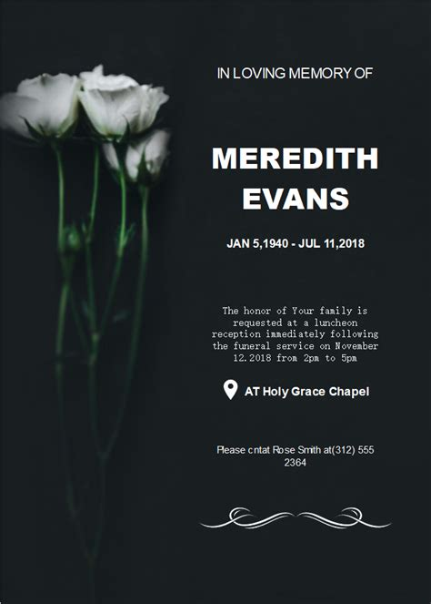 black background funeral invitation templates