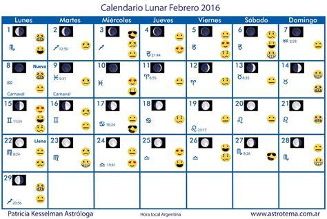 Calendario Lunar Febrero 2017 Astrologia En Argentina Calendario Lunar Febrero 2016