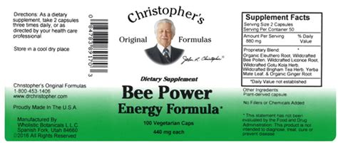 dr christophers bee power energy formula  synergistic