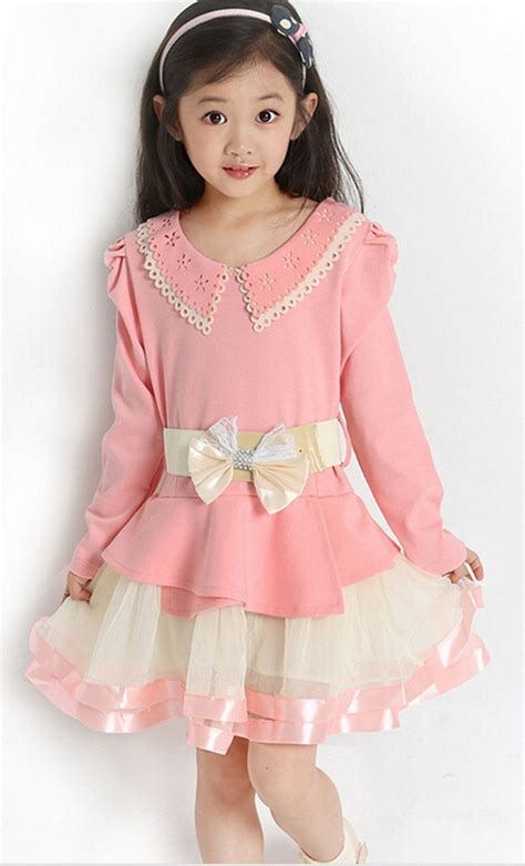 Dress Kid Pink baby dress children costumes toddler clothing kid clothes pink bowknot sleeve