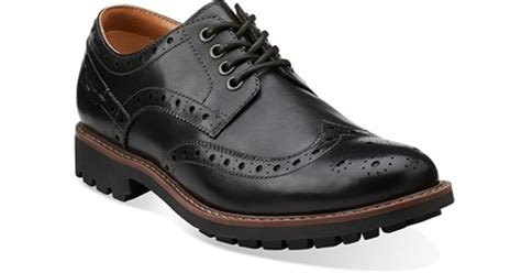 clarks pantofel wing tip black clarks clarks montacute wingtip in black for lyst