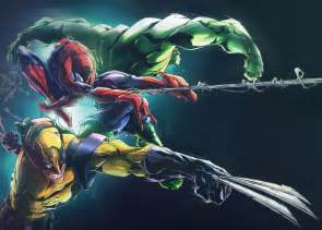 wolverine spider man hulk digital art fribly