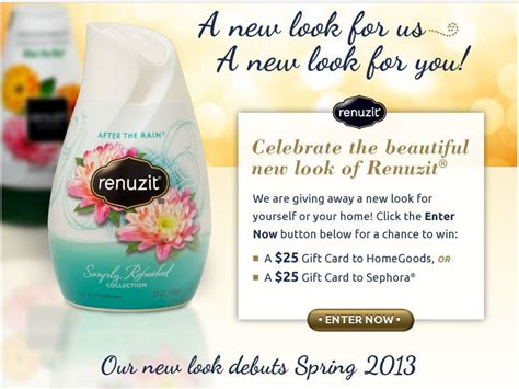 New Sweepstakes Starting Today - renuzit new look sweepstakes