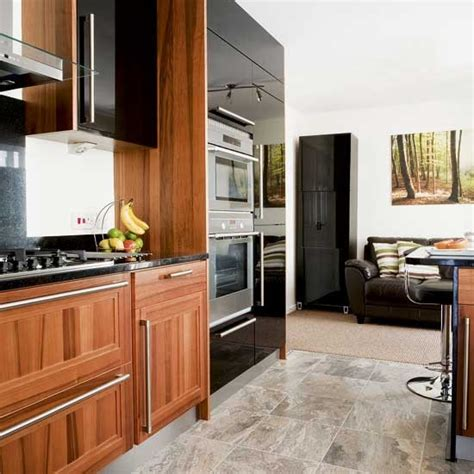 Black And Wood Kitchen Cabinets Black And Wood Kitchen Diner Kitchen Diner Design Ideas Image Housetohome Co Uk