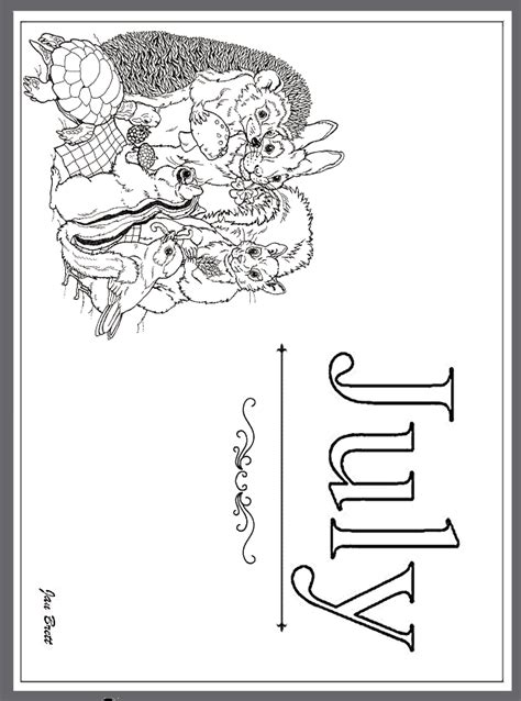 coloring page for year of the jan brett s months of the year coloring pages july
