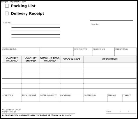 delivery receipt form template sle templates sle