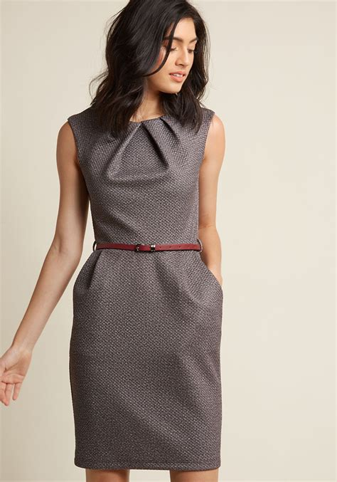 how to dress for teaching classy sheath dress in textured mocha modcloth