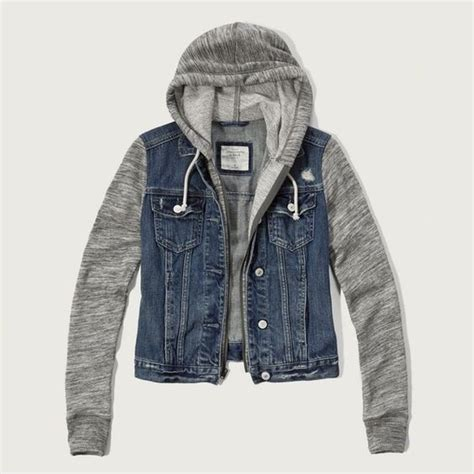 Jaket Wash Pull Quality abercrombie fitch denim hoodie jacket 98 liked on
