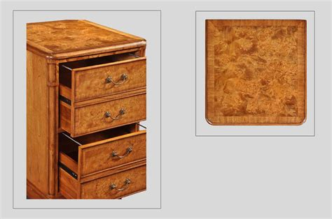 filing cabinet with two drawers in burr walnut