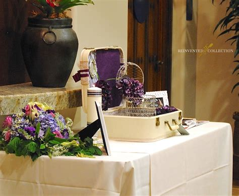 the color purple book reception guest book table decor vintage suitcase wedding card box