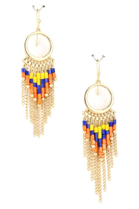 beaded fringe earrings acrylic beaded fringe dangle earring earrings