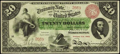 Who Makes The Paper For Us Currency - 1863 twenty dollar interest bearing note world banknotes