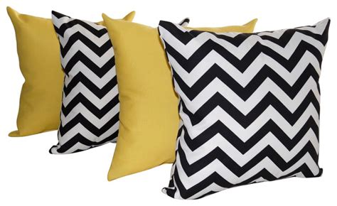 Set Of 4 Indoor Outdoor Yellow And White Sundeck And Chevron Outdoor Throw Pillows Yellow Black