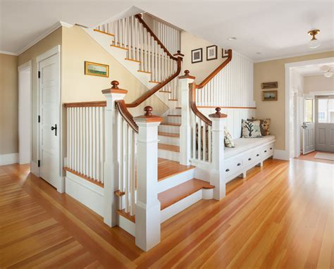 big white staircase beautiful wooden floors high beautiful foyer bench fashion portland maine beach style