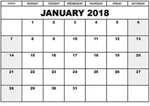 Calendar Printable January 2018 January 2018 Printable Calendar Printable Calendar Templates