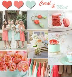 Fresh coral and mint wedding colors for spring and summer weddings