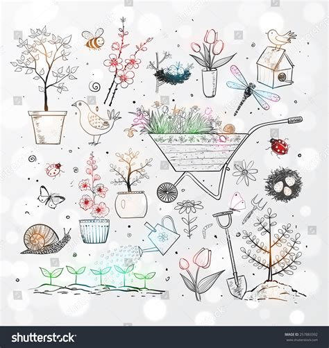 doodle create tools collection doodle sketch elements flowers stock