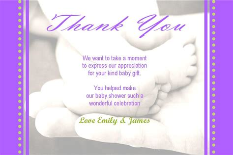 Baby Shower Gift Thank You Card Messages - personalised baby shower thank you card design 7