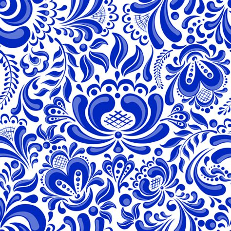 China Blue Pattern Vector | chinese blue and white seamless pattern vector 02 vector