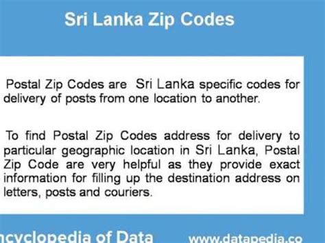 Address Search By Pin Code About Sri Lanka Postal Zip Code Finder