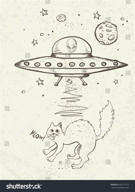 doodle ufo fantastic doodle background ufo abducts cat stock vector