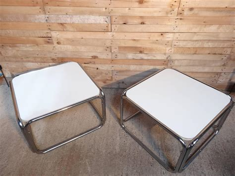1960s chrome white cube coffee tables only 1 available