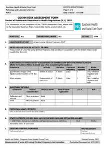Coshh Assessment Template by Best Photos Of Coshh Assessment Forms Template Sign Up