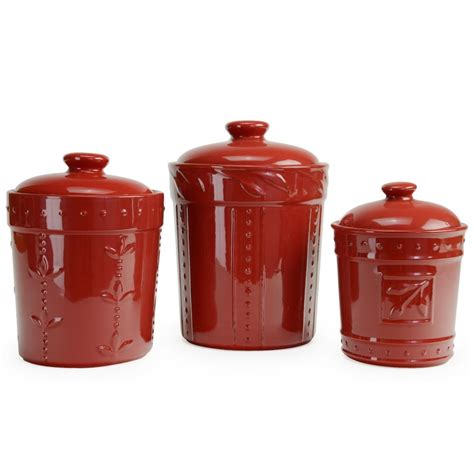 Red Kitchen Canister | signature housewares 3 piece sorrento ruby red ceramic
