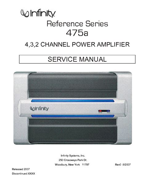 infinity 475a infinity reference series 475a service manual free