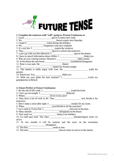 Simple Present Tense Exles Exercises In Future Tenses All The Best Exercise
