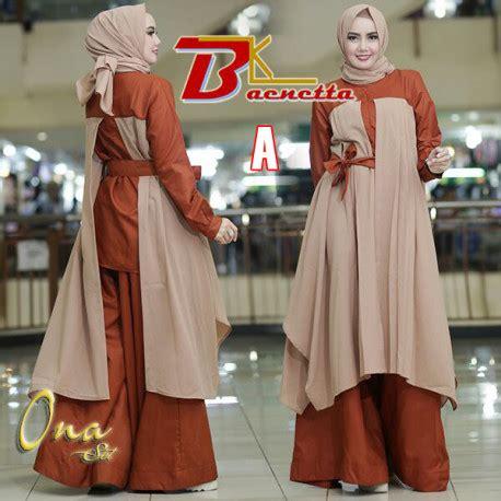 Pusat Grosir Baju Prysa Set Linen ona a baju muslim gamis modern