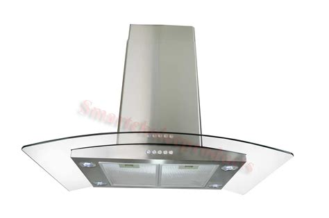 stove hoods gtc kitchen 36 quot glass island mount stainless steel