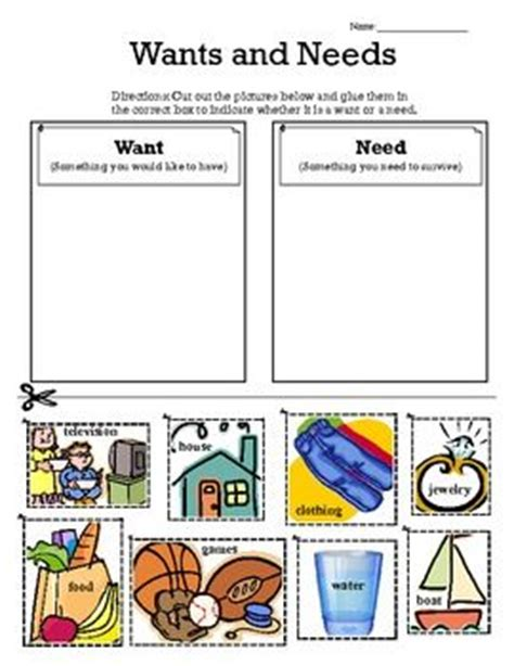 kindergarten activities needs and wants wants vs needs sort primary