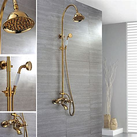 Ti PVD Finish Wall Mount Contemporary Brass Shower Faucets