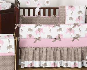 Unique discount pink and brown mod elephant designer baby girl crib