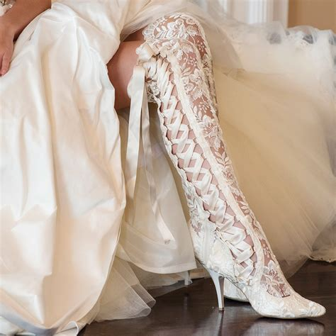 Schuhe Ivory Spitze by The Knee Ivory Lace Wedding Boots House Of Elliot