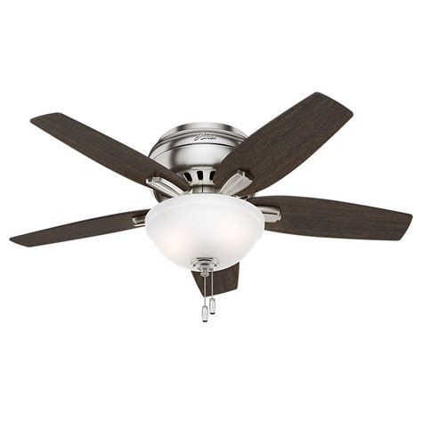 hunter ceiling fans home depot hunter newsome 42 in indoor low profile brushed nickel