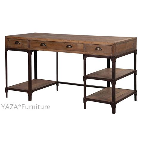 wood and iron desk country style desk loft nostalgic retro iron wood