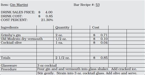 standard recipe card template beverage production