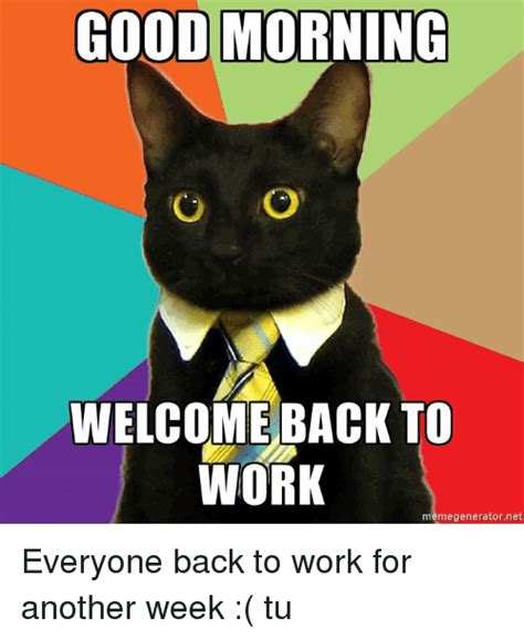 Welcome Back Meme - good morning welcome back to work meme generator net