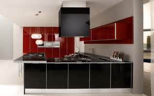 Red and black color ultra modern kitchen design by futura cucine