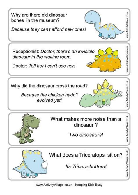 Printable New Years Jokes | new year jokes for kids jokes dinosaur printables