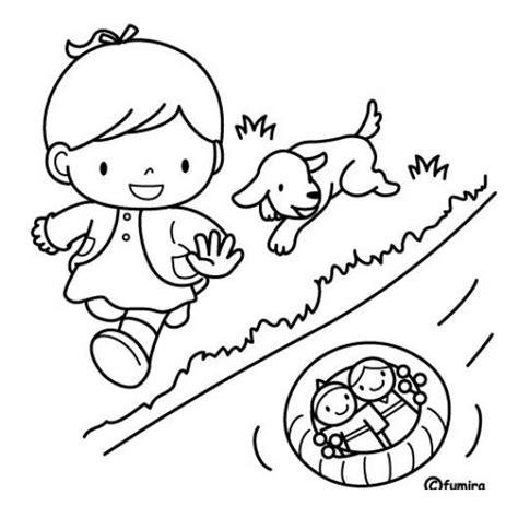 imagenes para pintar muñecas dibujo de nina jugando munecas en un rio con su perrito