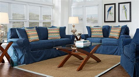 rooms to go living room sets cindy crawford home beachside blue 7 pc living room