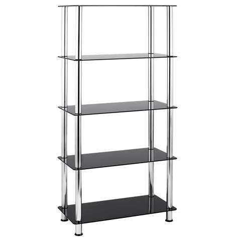 chrome bookshelves vonhaus 5 tier black glass shelving unit bookcase with chrome legs ebay